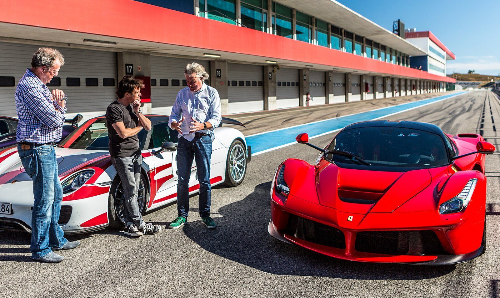 The Grand Tour Ferrari and James May, Richard Hammond, Jeremy Clarkson