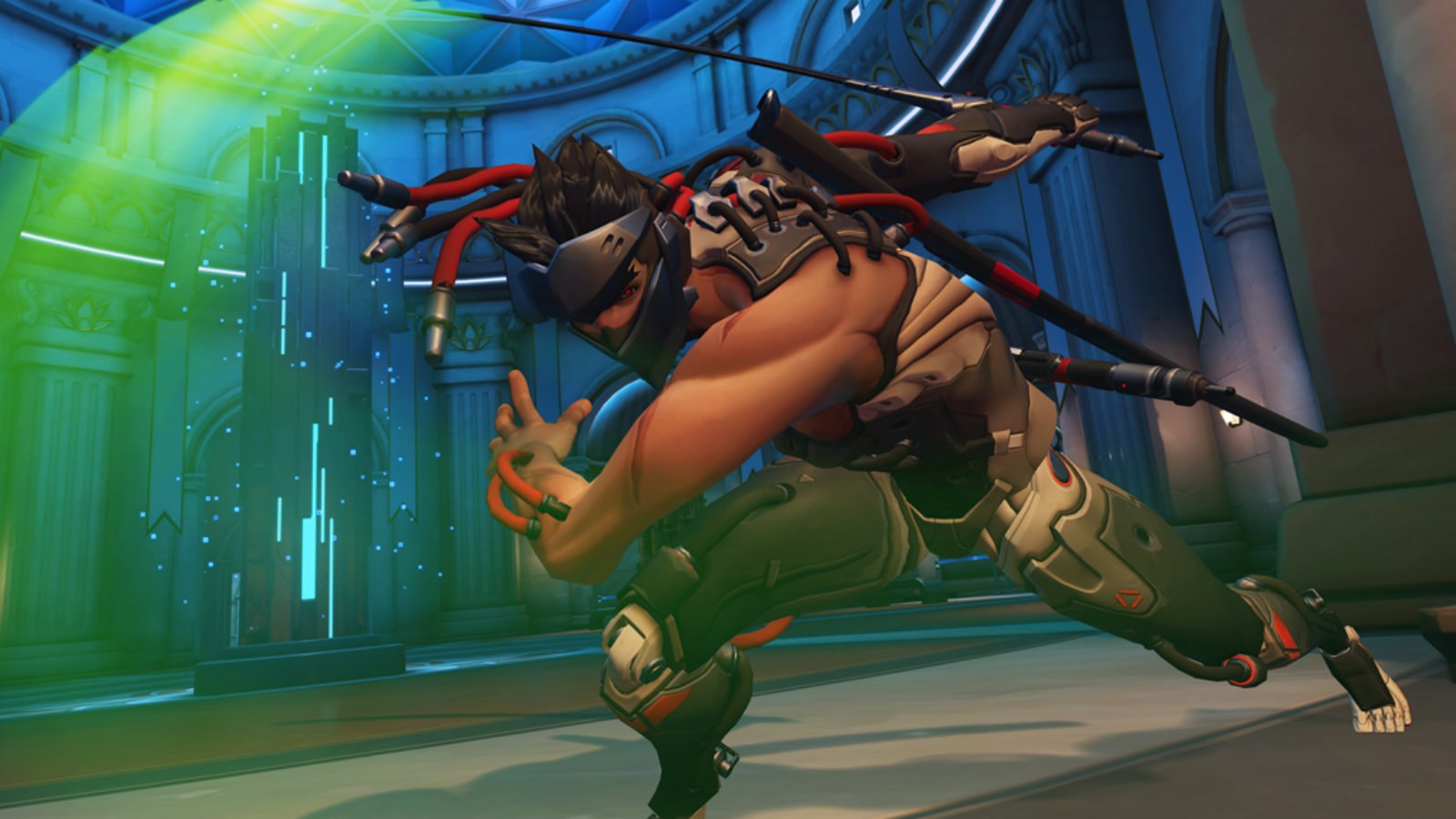 Genji attacks with blade