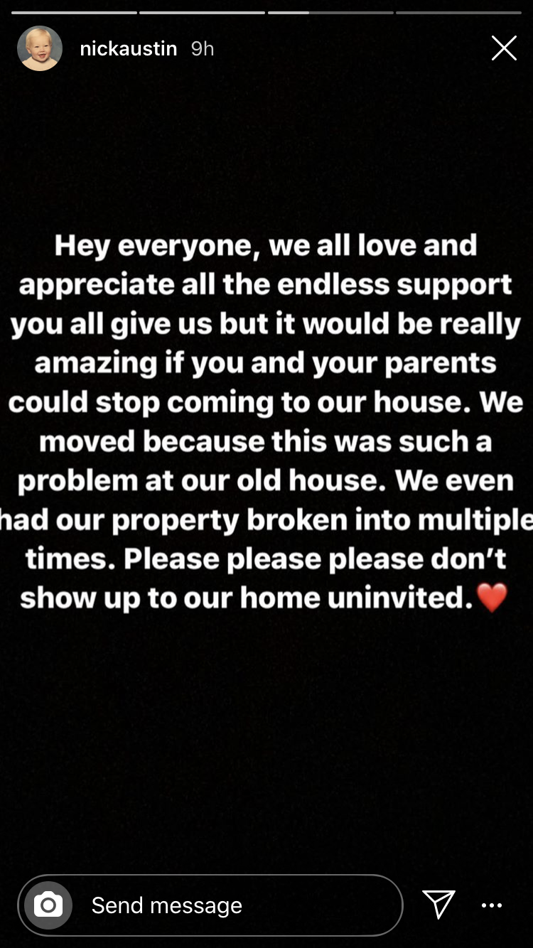 Nick Austen asks fans to stop showing up to the Hype House
