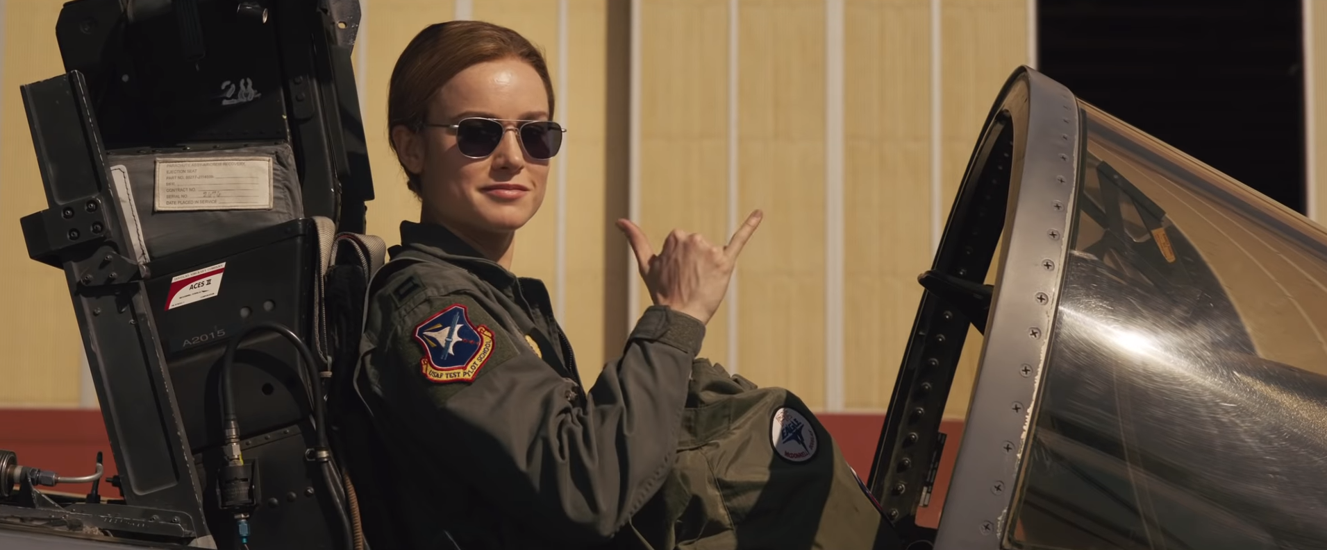 Brie Larson playing Captain Marvel in the MCU.