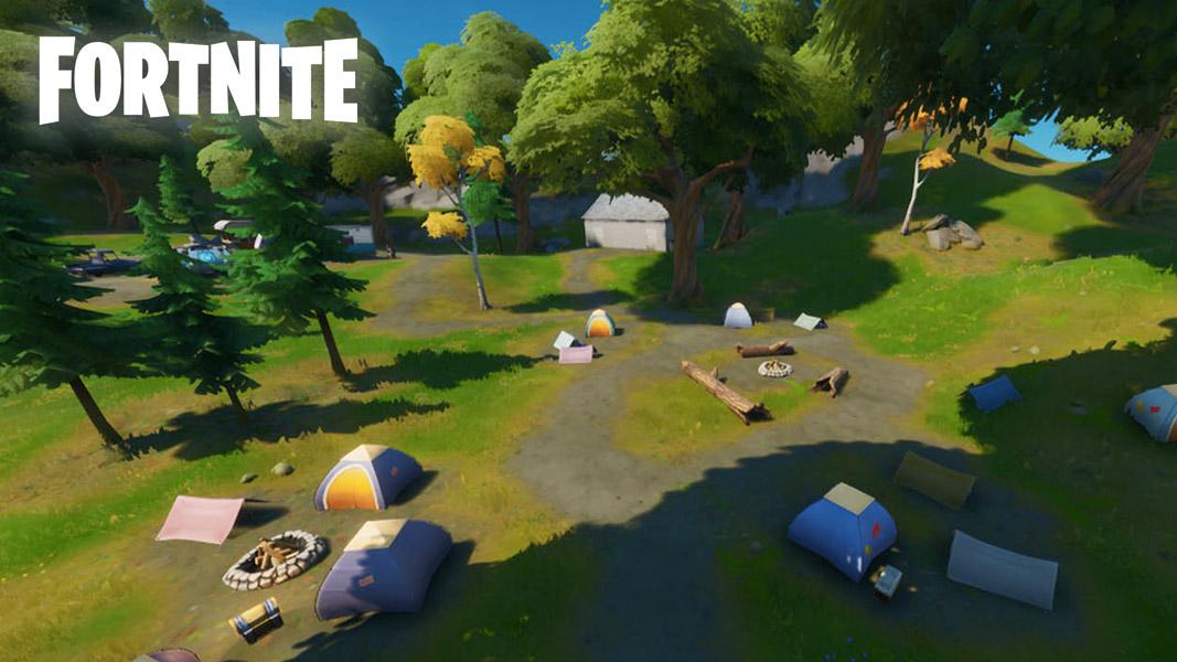 Weeping Woods campsite in Fortnite