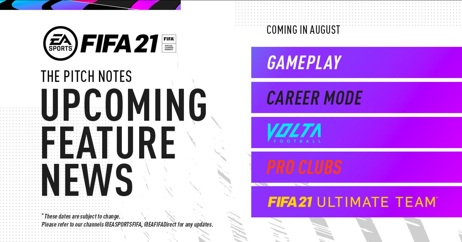 FIFA 21's content schedule