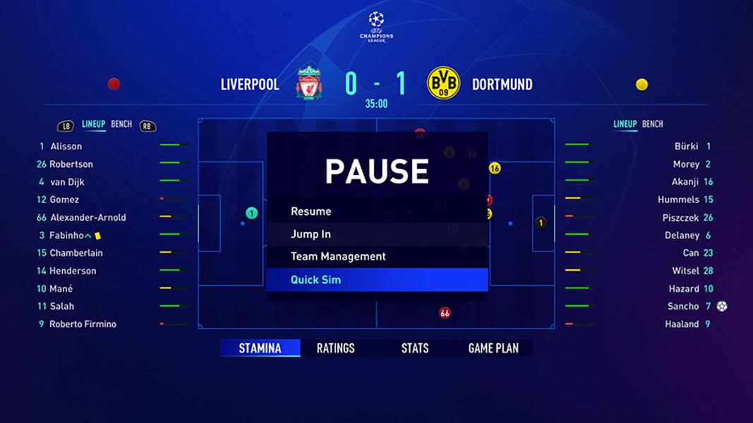 Interactive Match Sim screenshot from FIFA 21