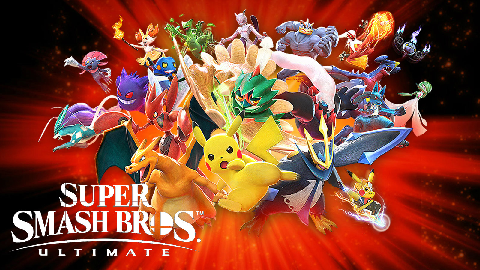 Pokken roster with Smash Ultimate logo