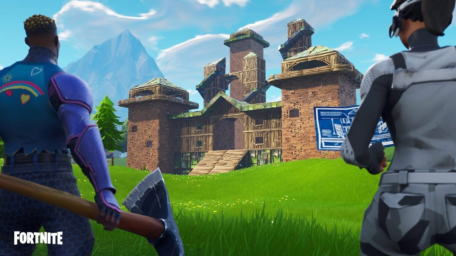 Two fortnite characters looking at building