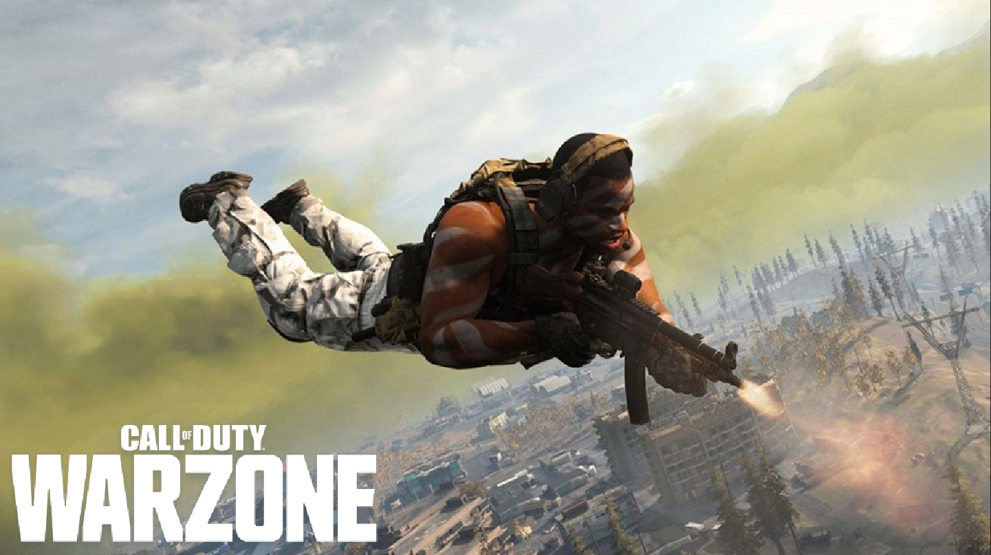Warzone character shooting while skydiving