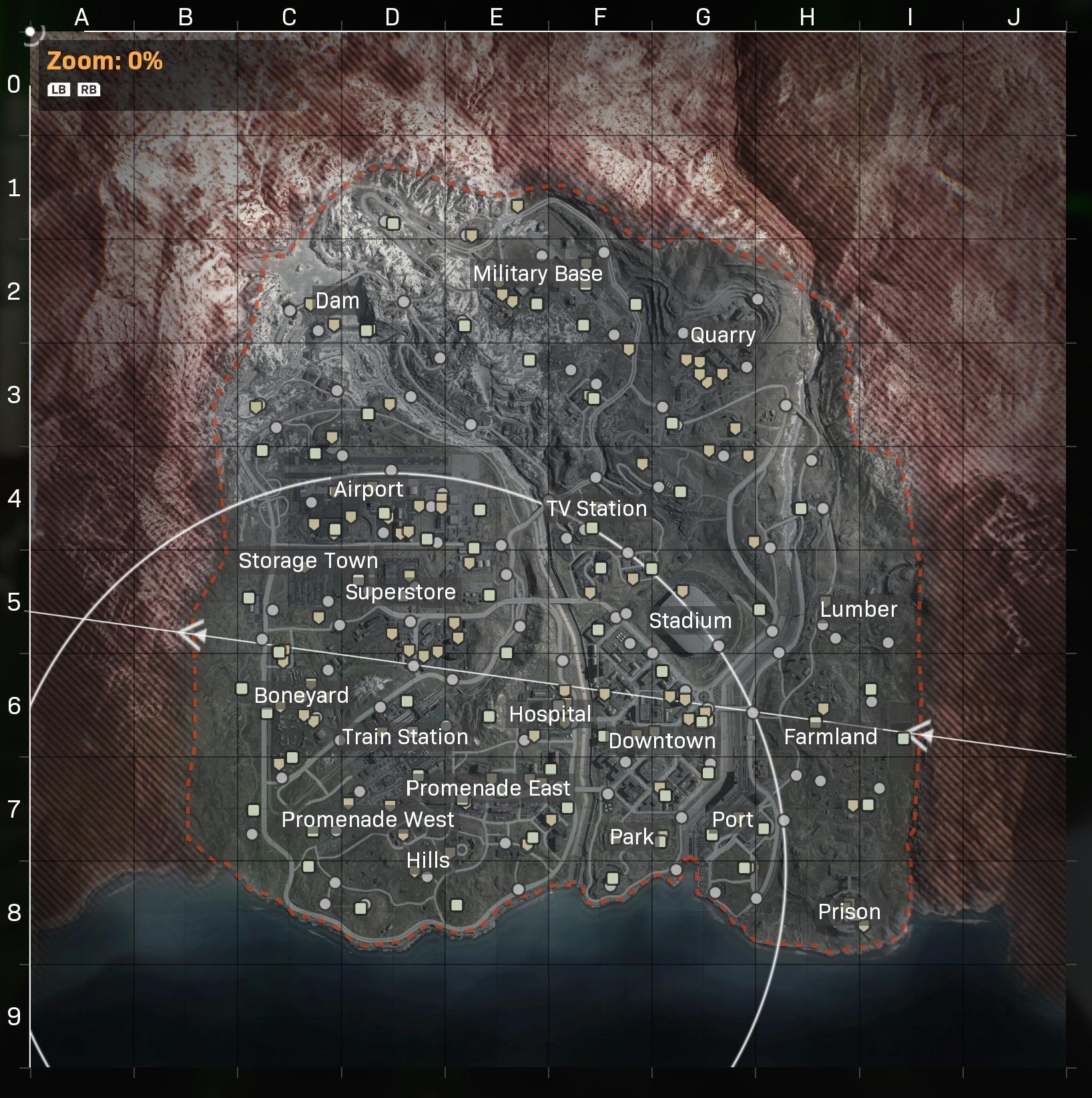 Grid of verdansk map in warzone