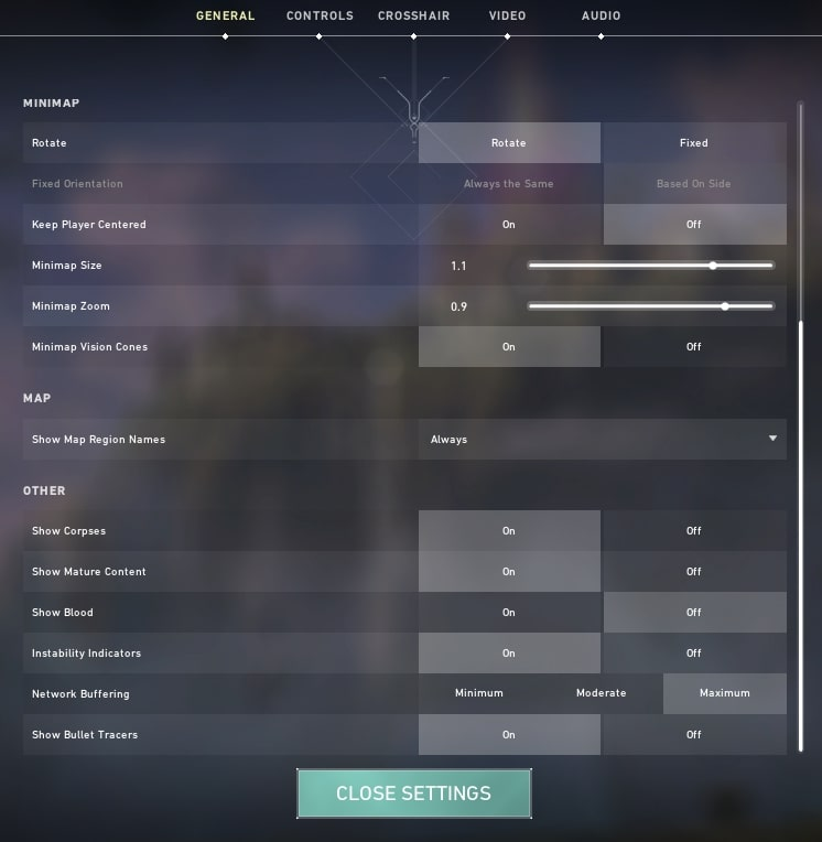 Valorant general settings menu