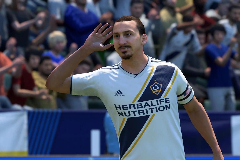 Zlatan Ibrahimović celebrates in FIFA 20.