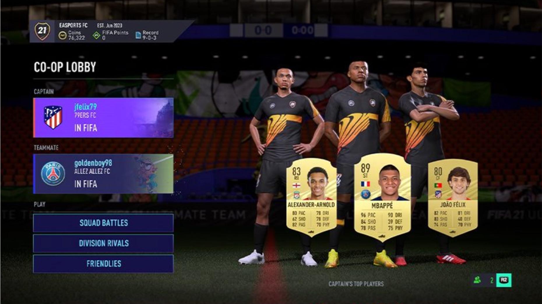 FIFA 21 menu