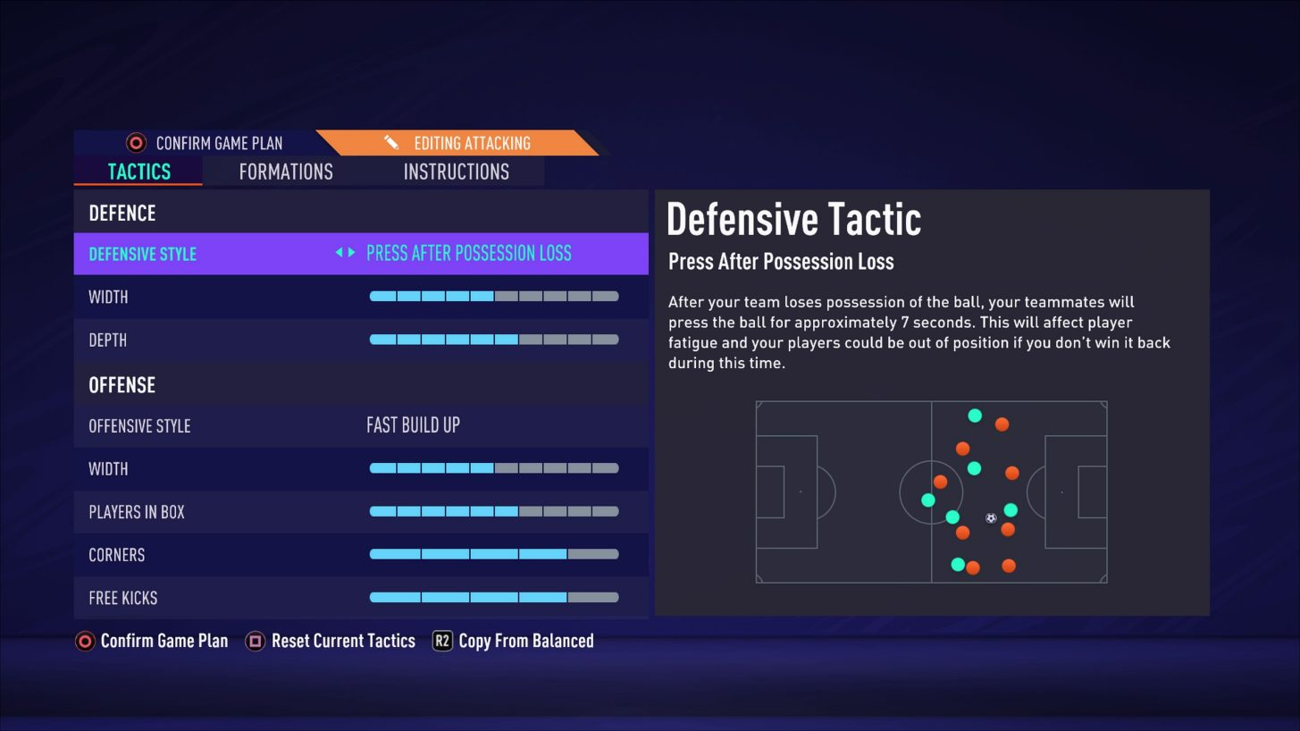 FIFA 21 Pro Clubs tactics options