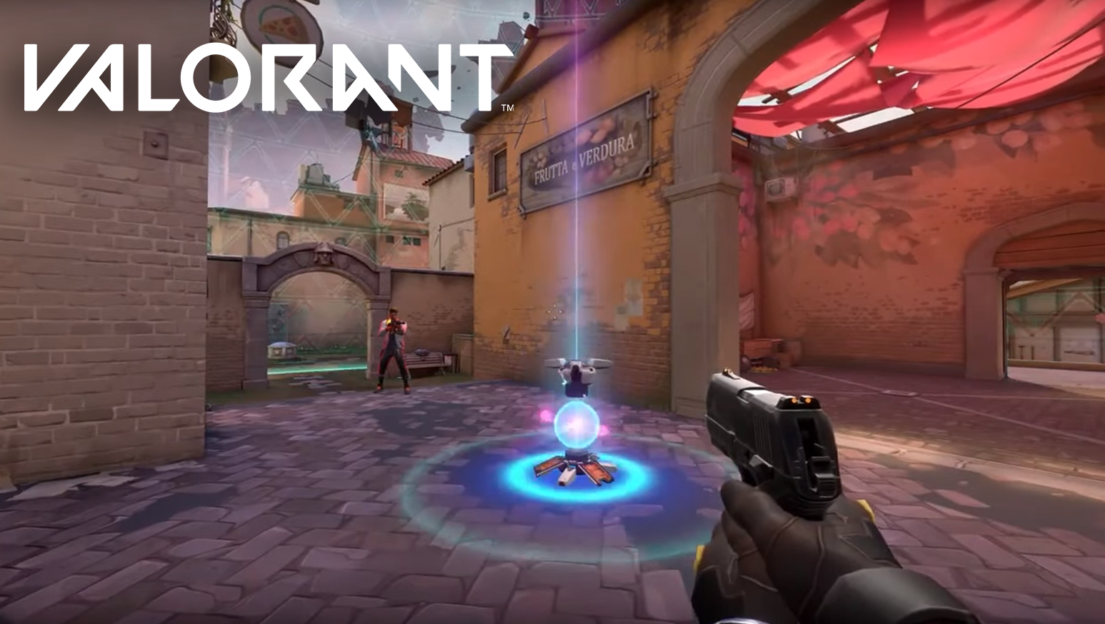 Agent 12 Killjoy deploys a Valorant turret in Act 2 teaser.