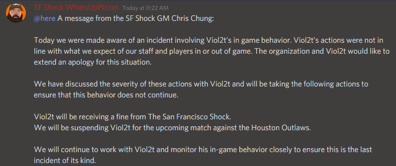 Overwatch League statement from San Francisco Shock General Manager