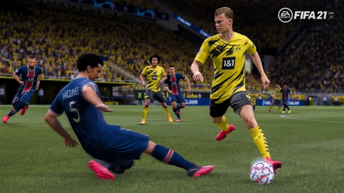 Erling Haaland skipping past a defender