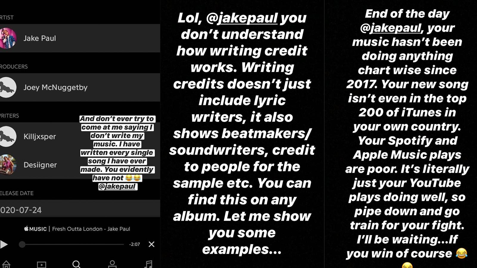 KSI vs. Jake Paul on Instagram