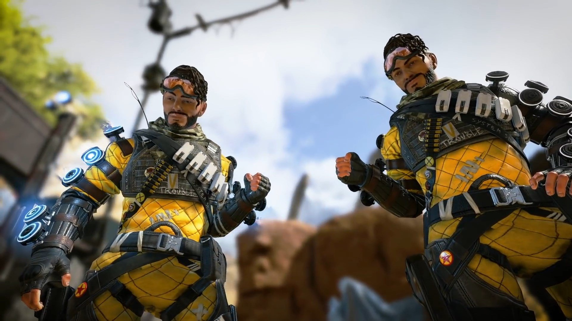 Mirage fist bumping himself in Apex Legends