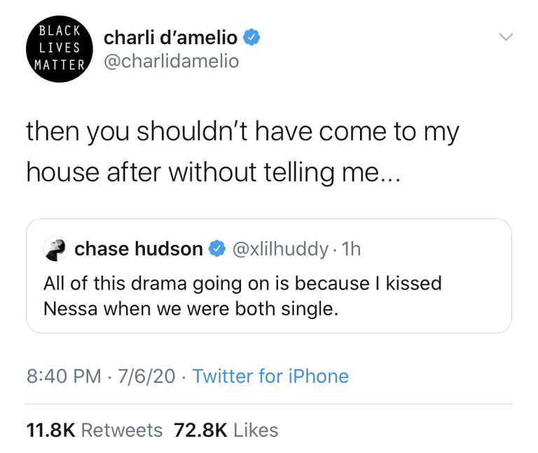 Charli D'Amelio accuses Chase Hudson of cheating on her.