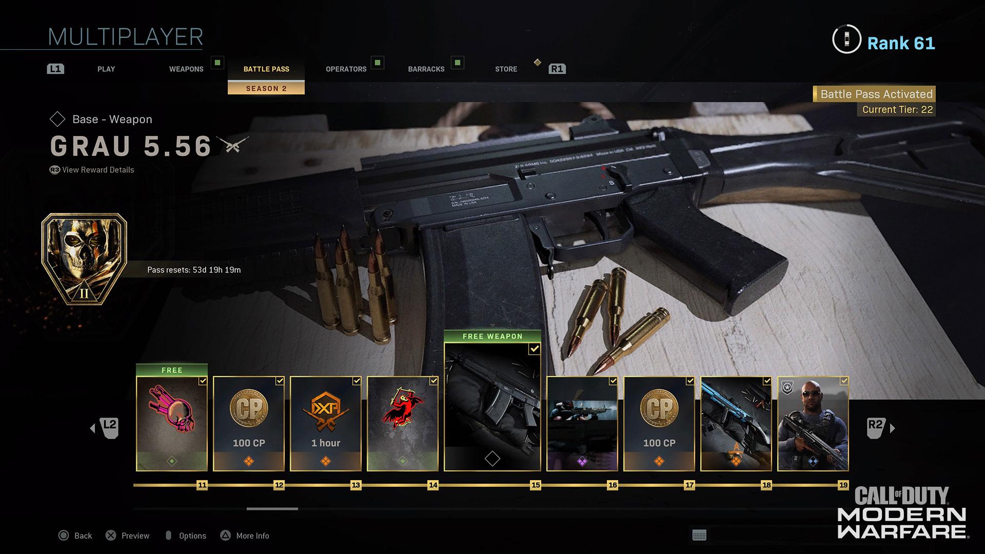 Modern Warfare Sesaon Two Battle Pass Grau