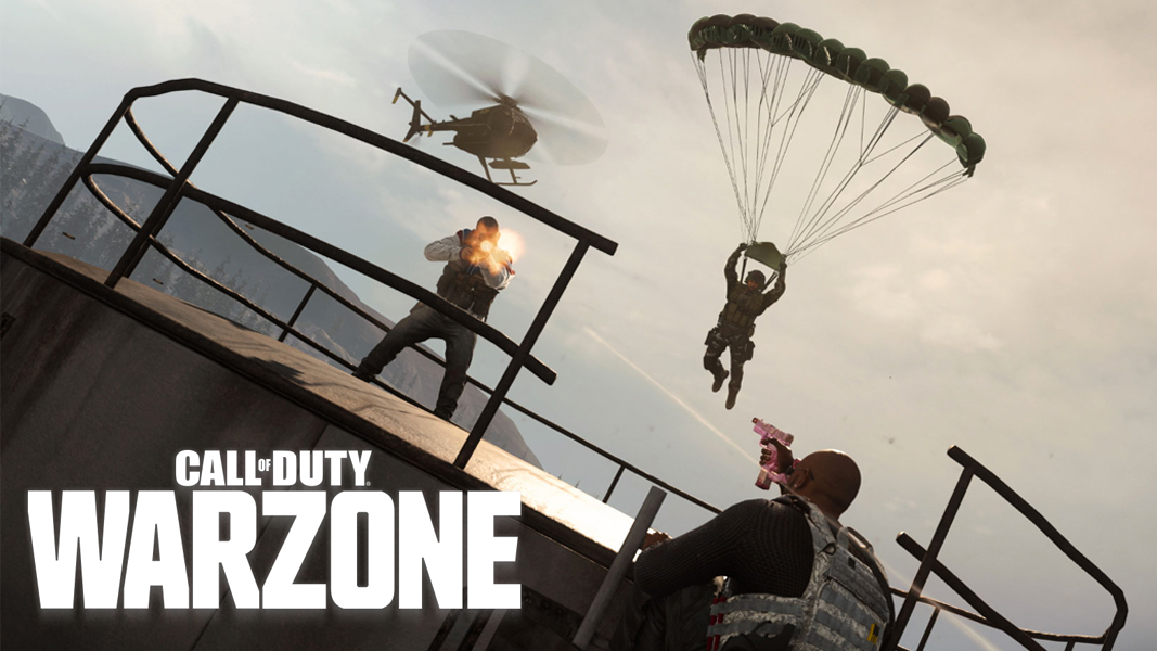 Warzone gunfight with player parachuting in