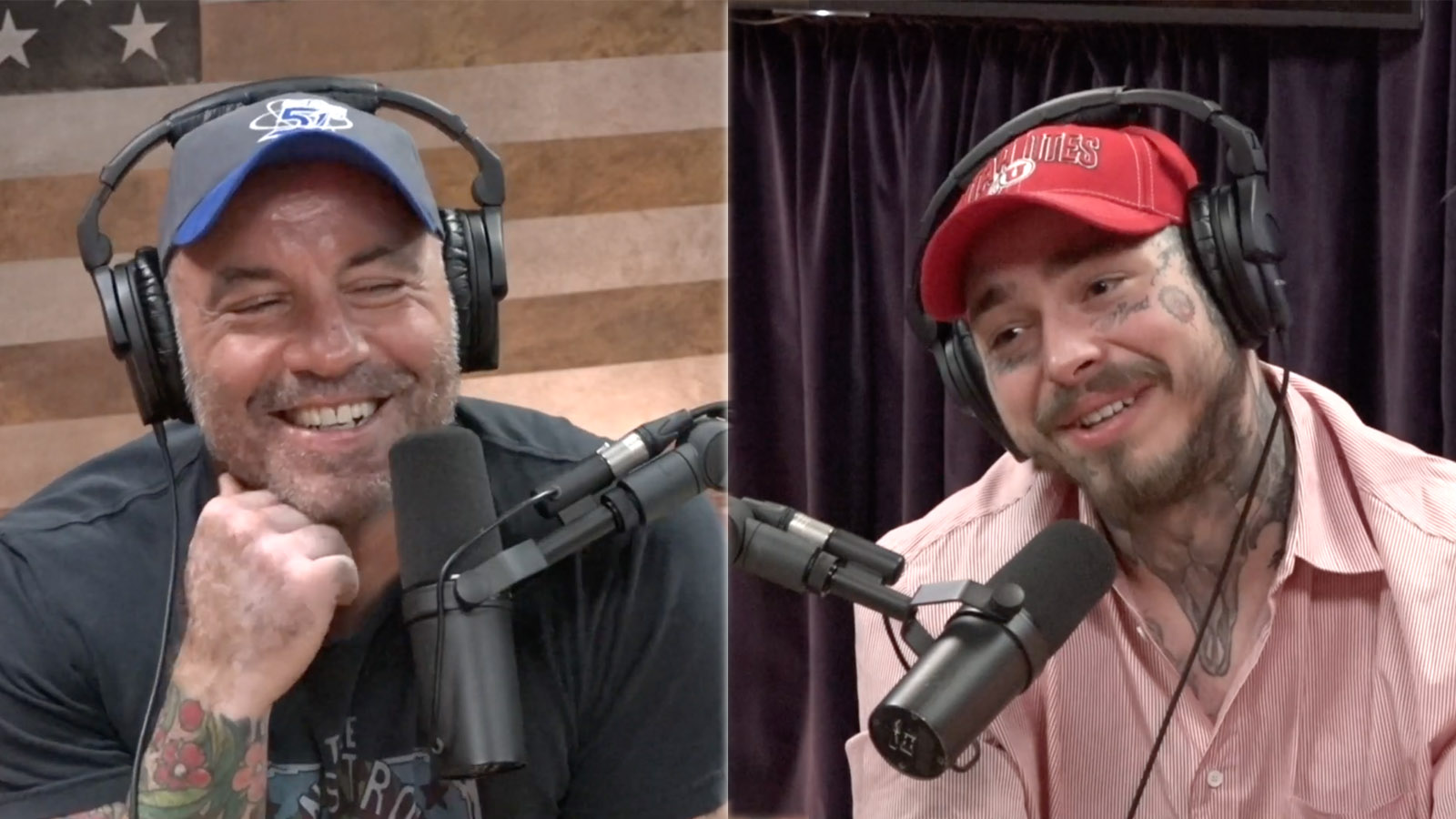 Joe Rogan and Post Malone on a podcast