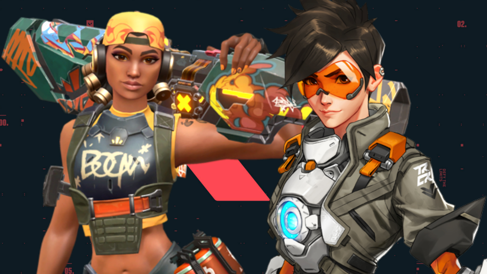 Raze from Valorant and Overwatch's Tracer