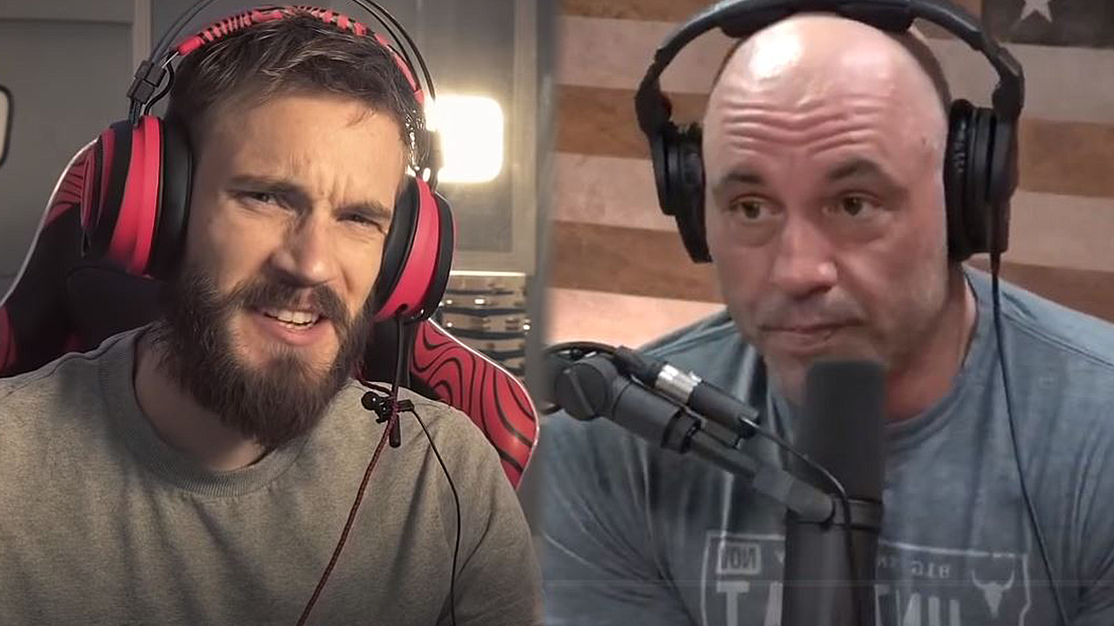 PewDiePie and Joe Rogan look at the camera,