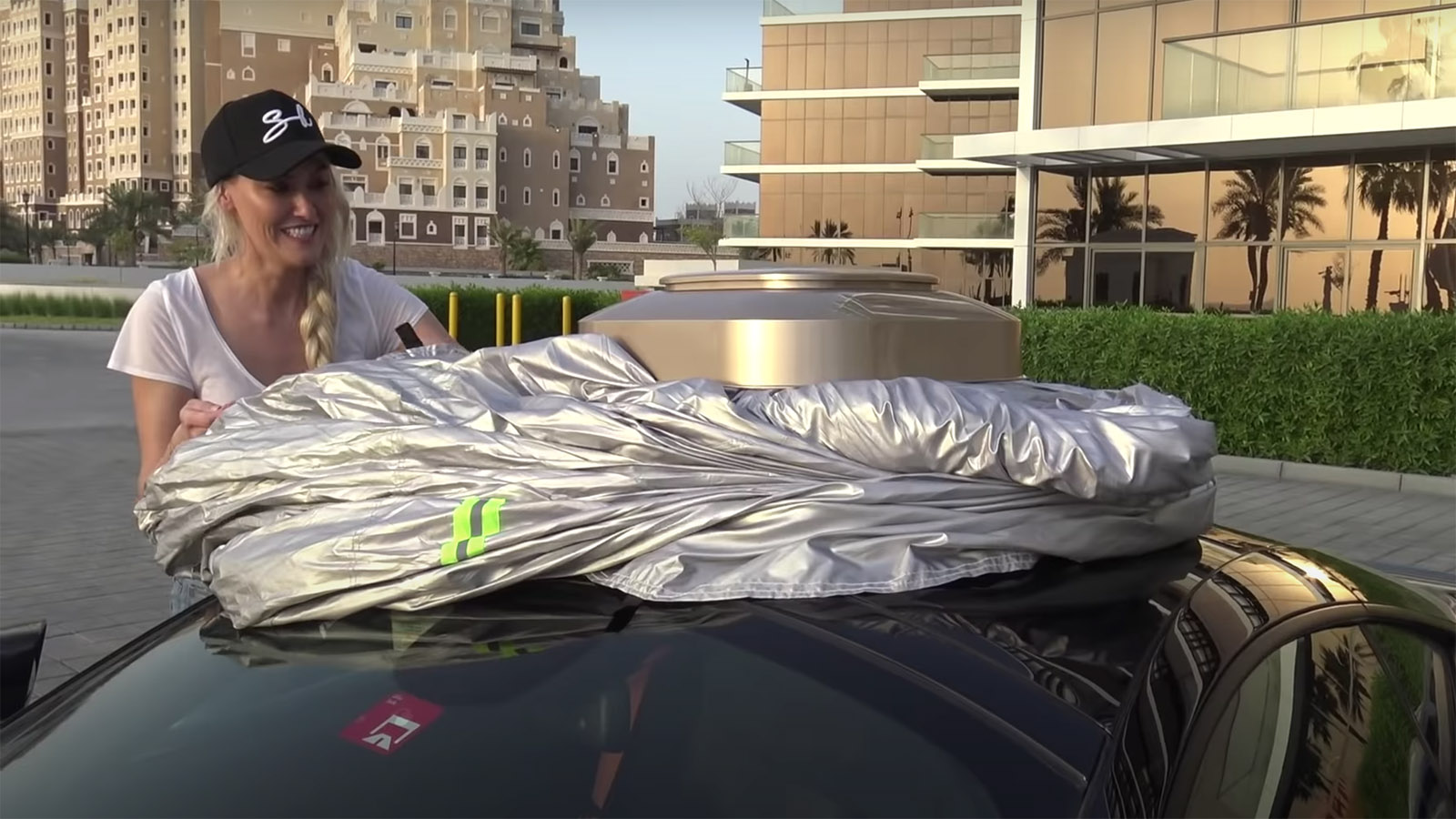 Supercar Blondie tests car cover