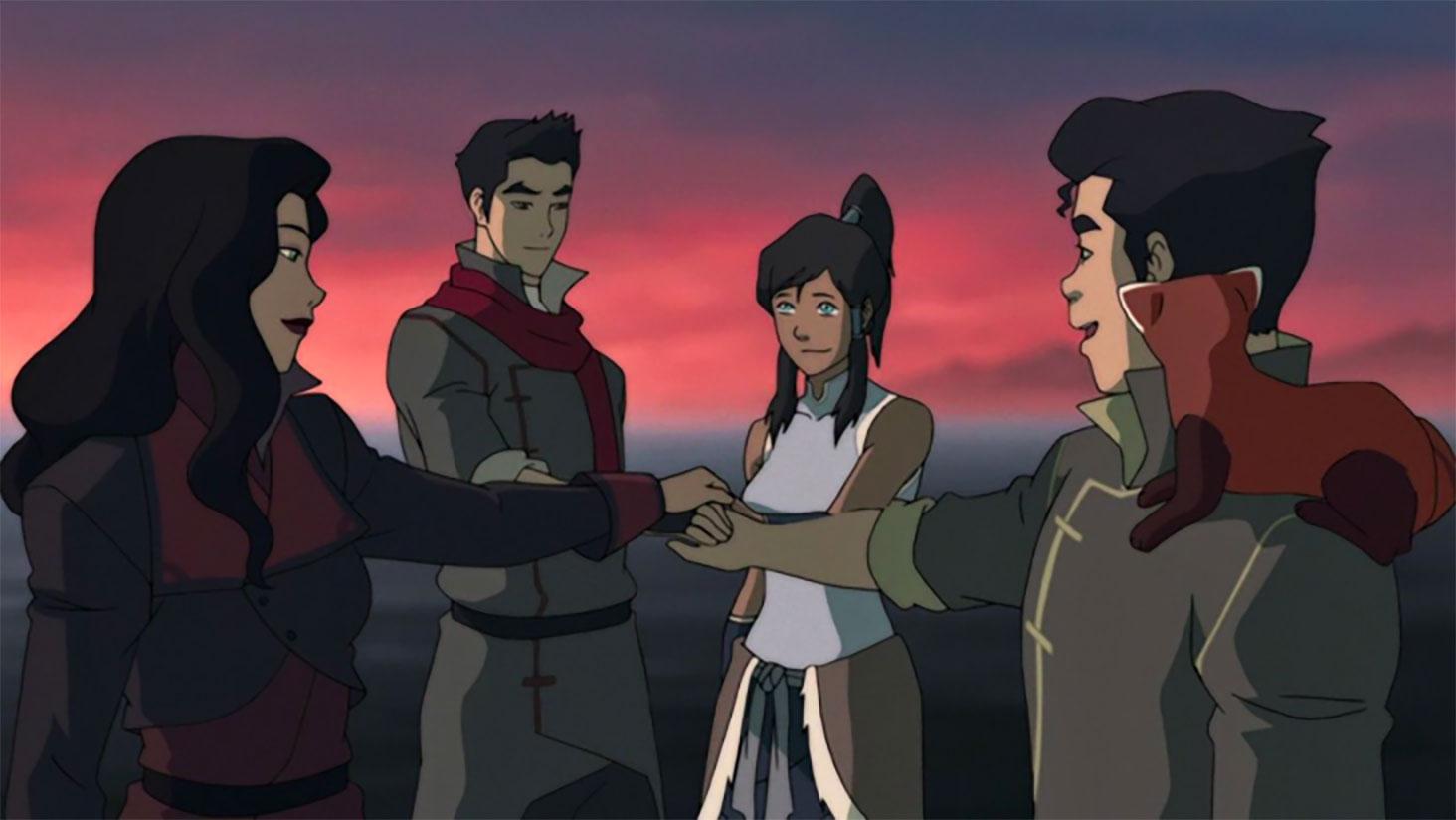 asami bolin mako and korra forming team avatar