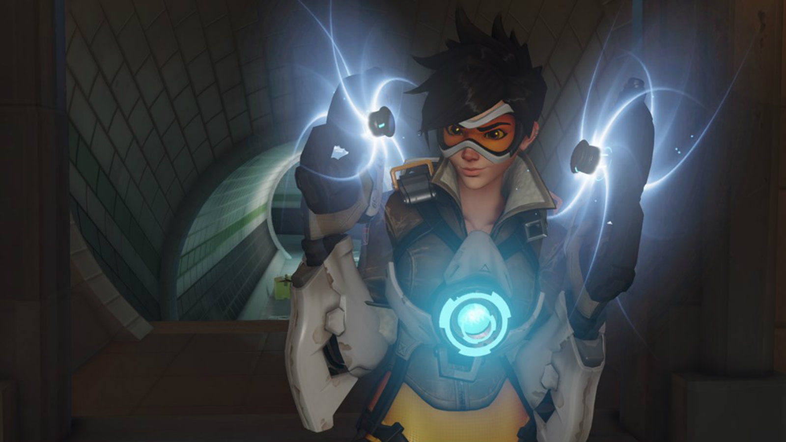 Overwatch reloads her pulse guns on King's Row