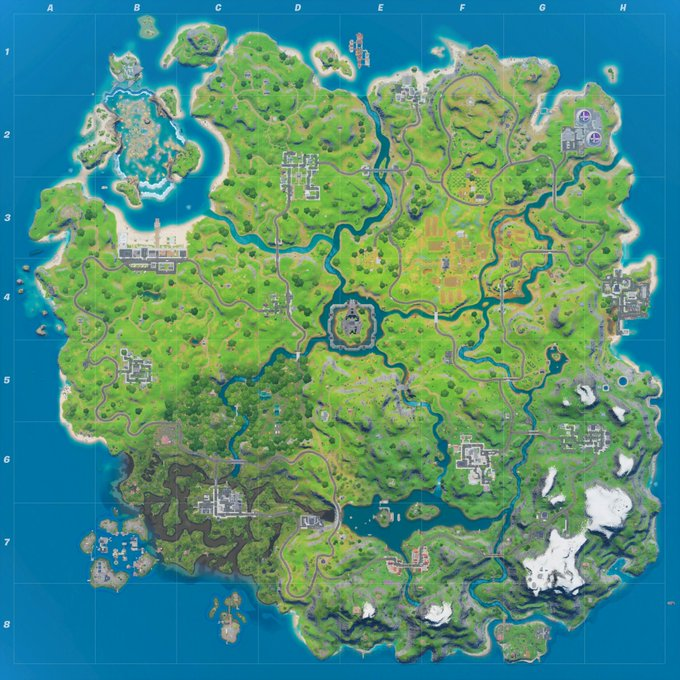 Fortnite map following the August 1 changes