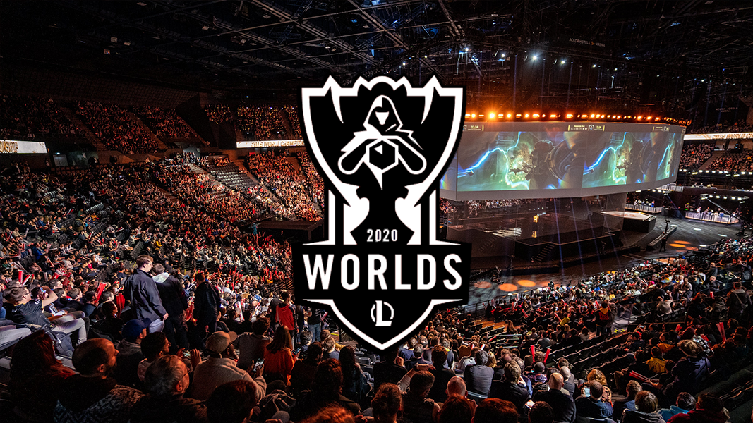 League of Legends worlds 2020 logo in front of arena