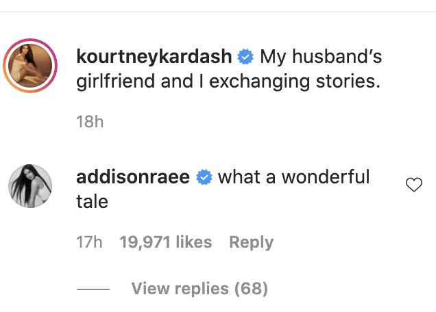 Addison Rae comment on Kourtney Kardashian IG