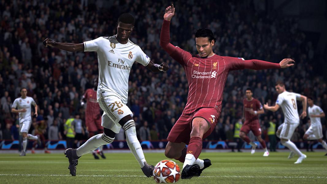 Virgil Van Dijk and Vinicius jr tackle in FIFA