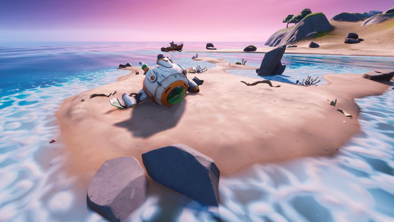 fortnite spaceship in craggy cliffs