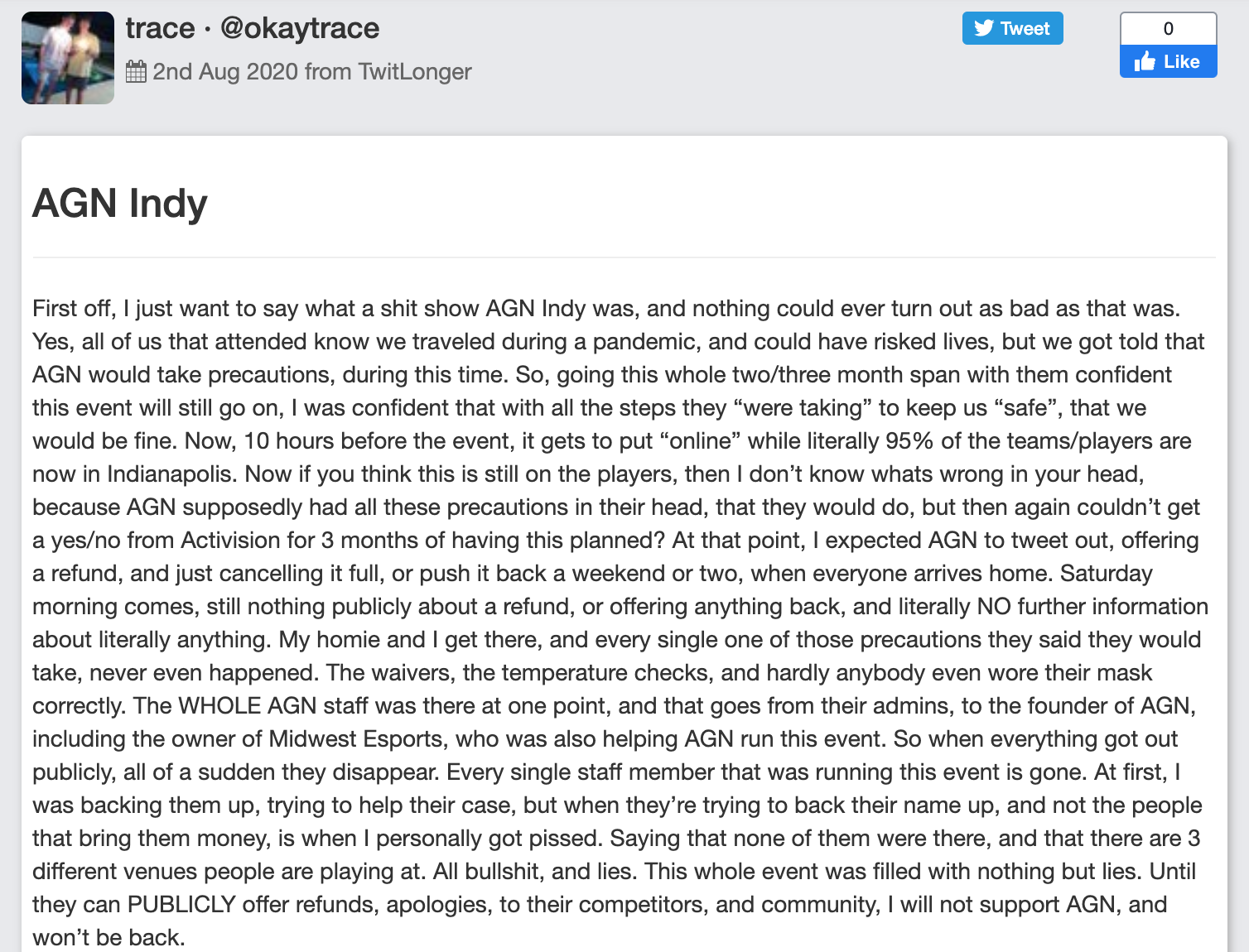 AGN Indy player Trace statement
