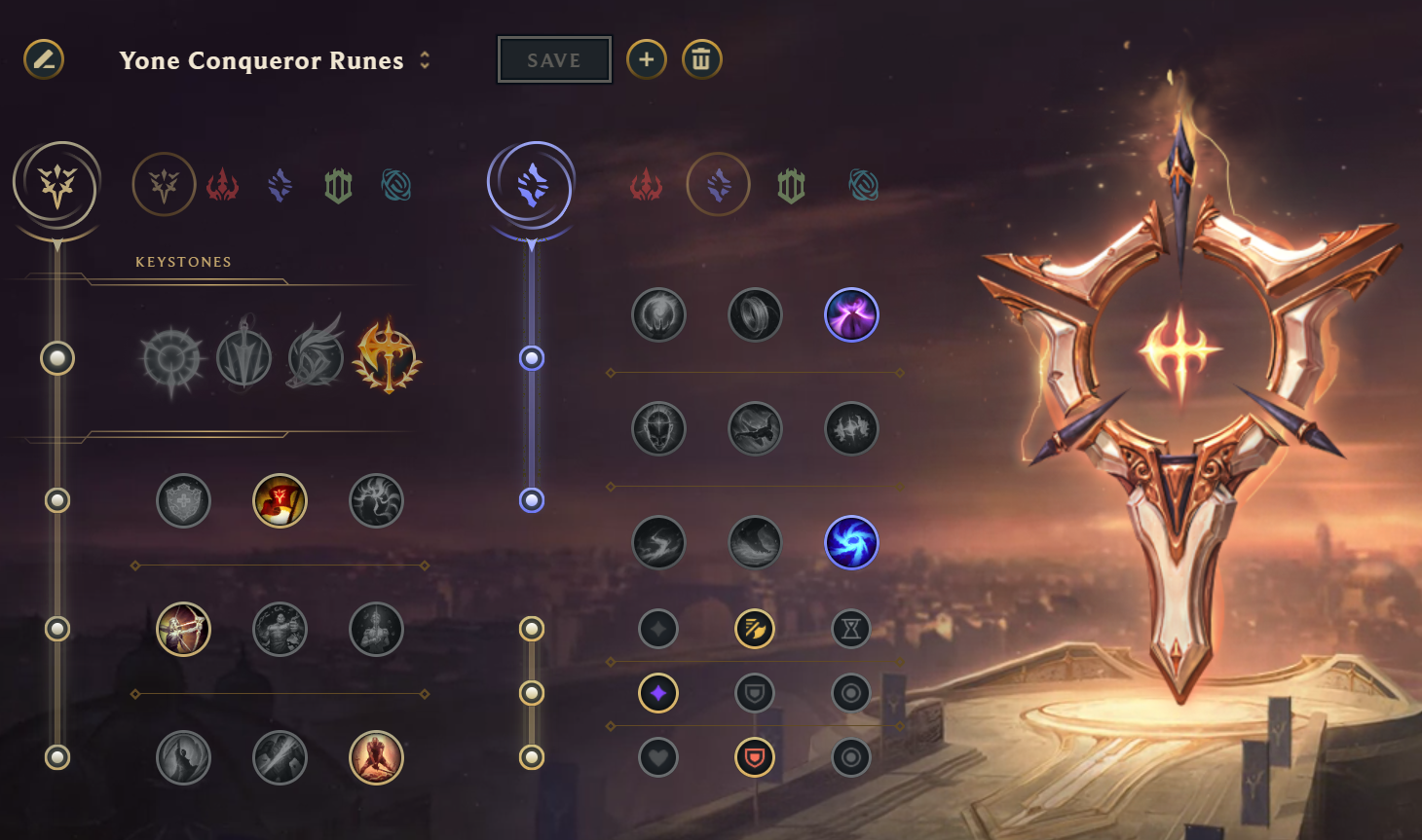Conqueror Rune Page for Yone in League of Legends