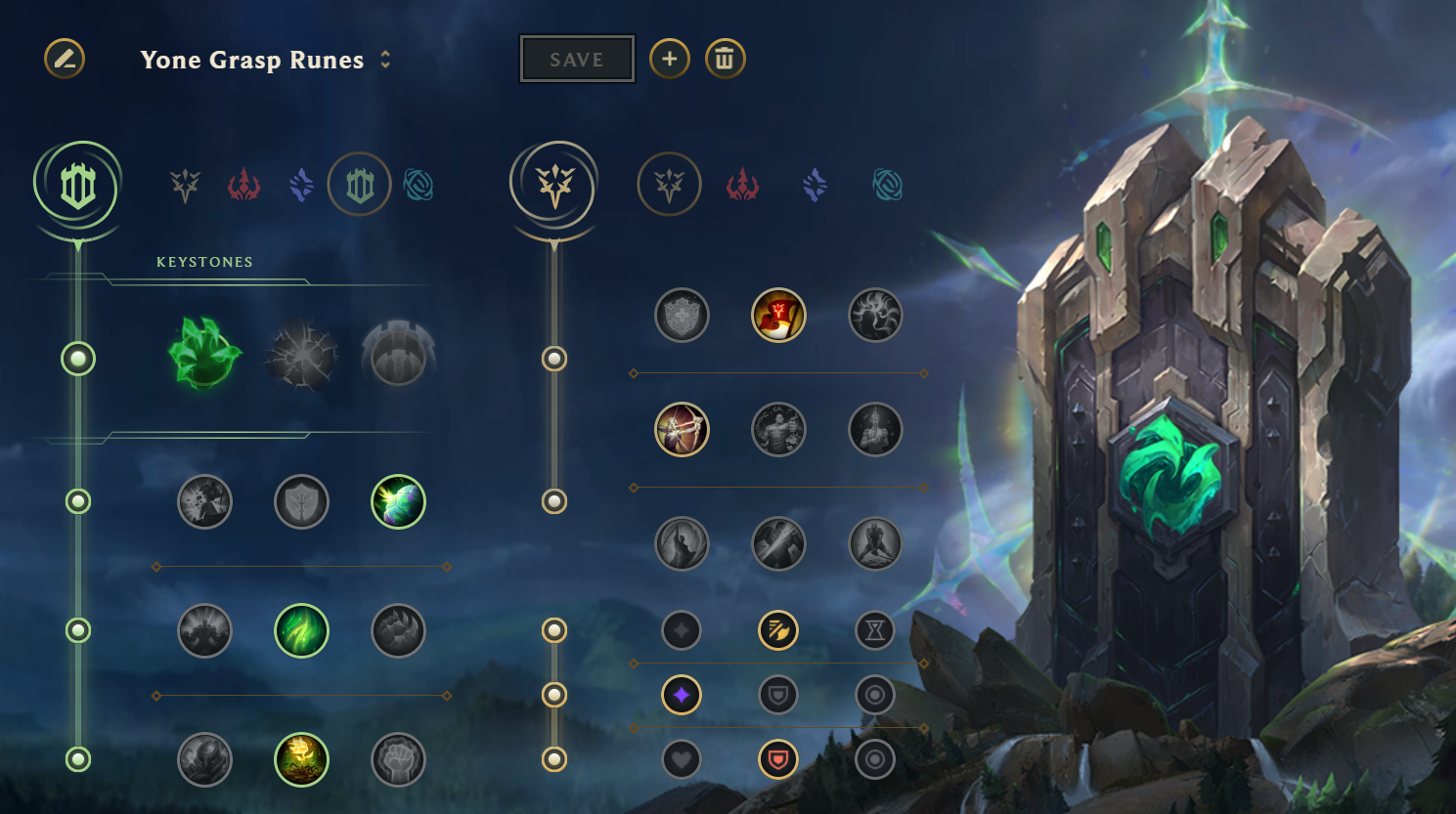 Grasp of the Undying Runes for Yone in League of Legends