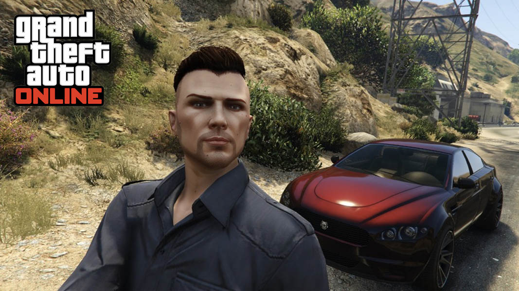 GTA Online character taking a photo with car