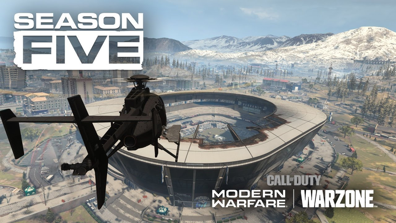 Season 5 of Warzone, a helicopter flying over the open Stadium