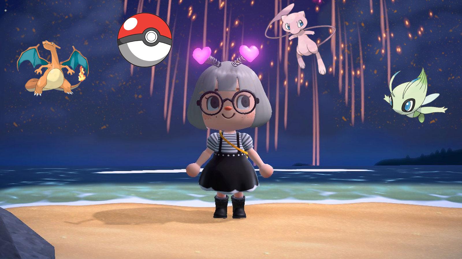 animal crossing new horizons pokemon fireworks