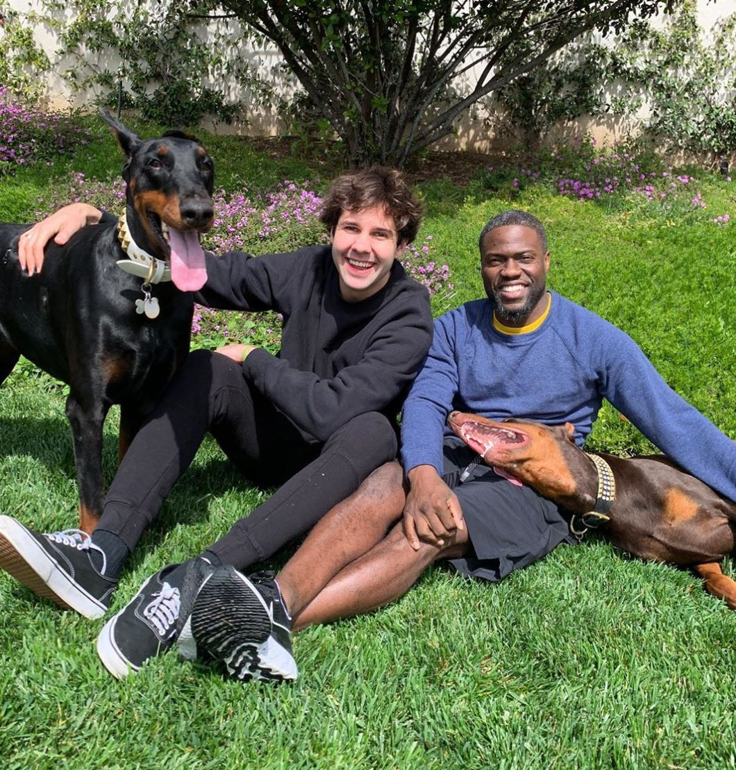 David Dobrik lounges on the grass with Kevin Hart and a dog.