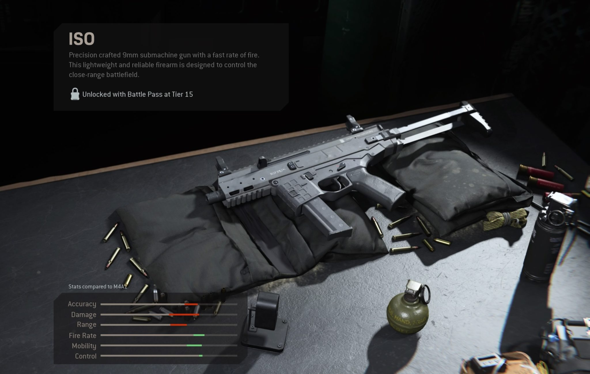 The ISO submachine gun as it appears in the Modern Wafare armory.