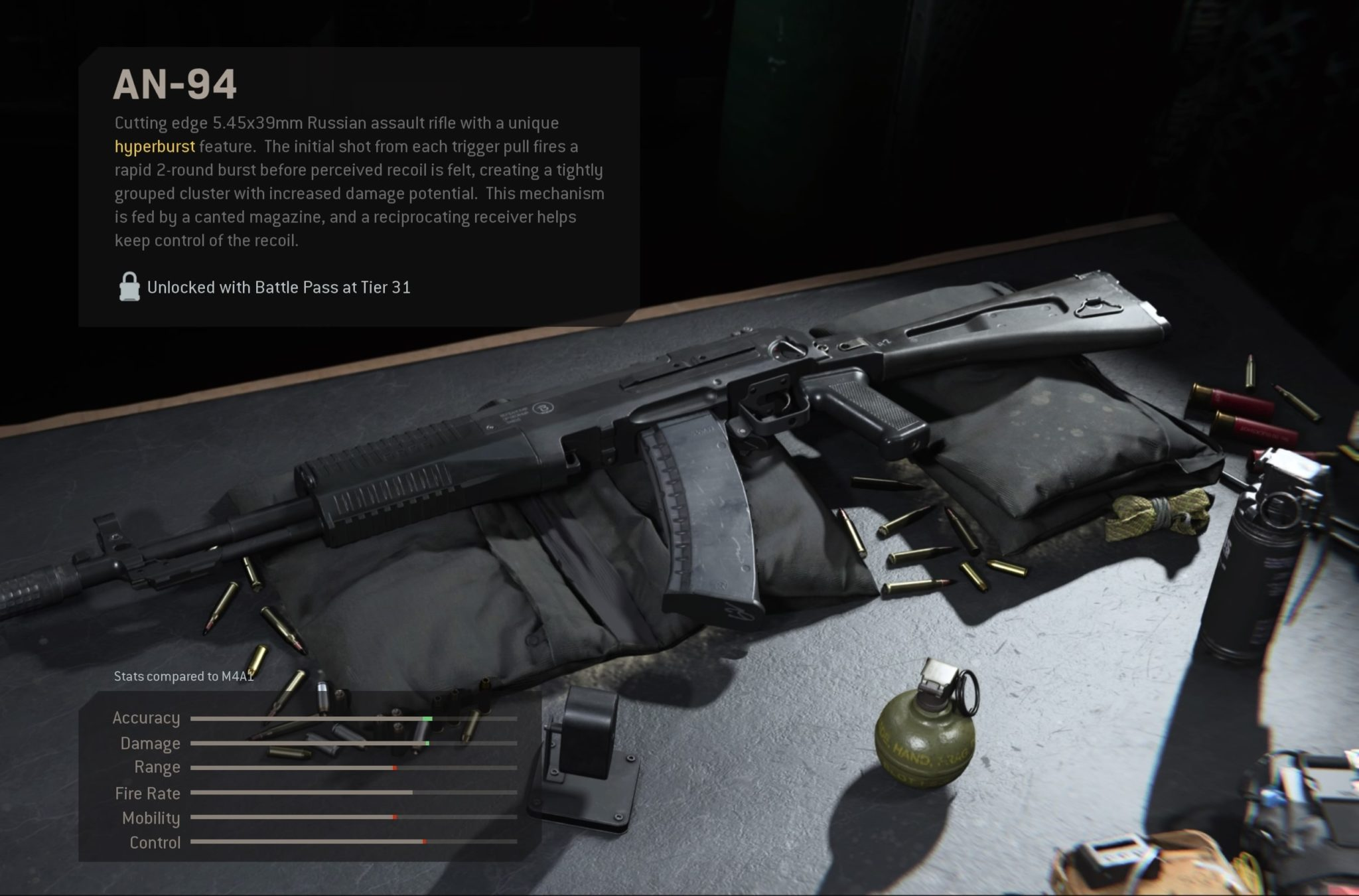 The AN-94 assault rifle as it appears in the Modern Wafare armory.