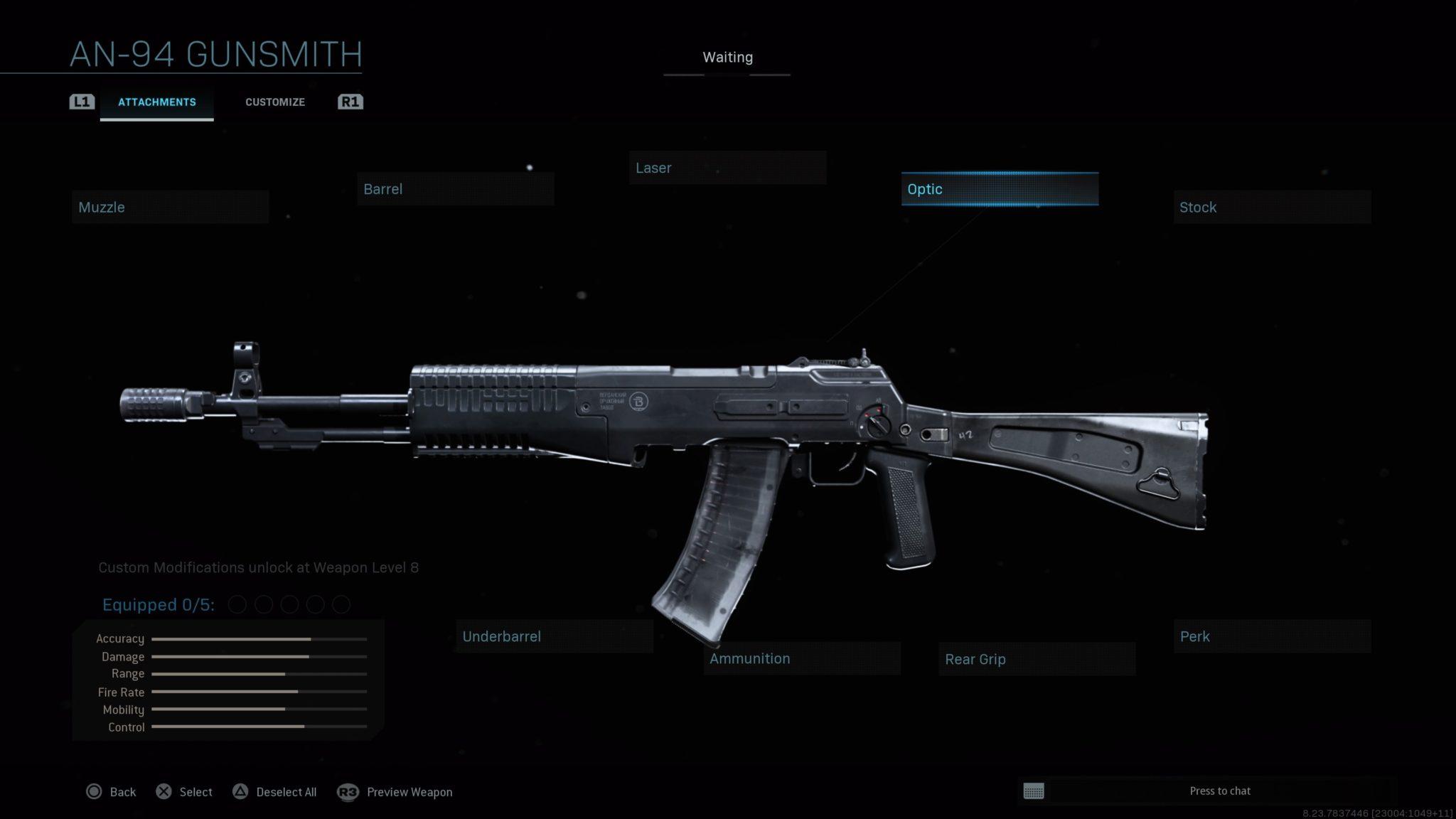 All the AN-94 assault rifle customization options in the Modern Wafare gunsmith.