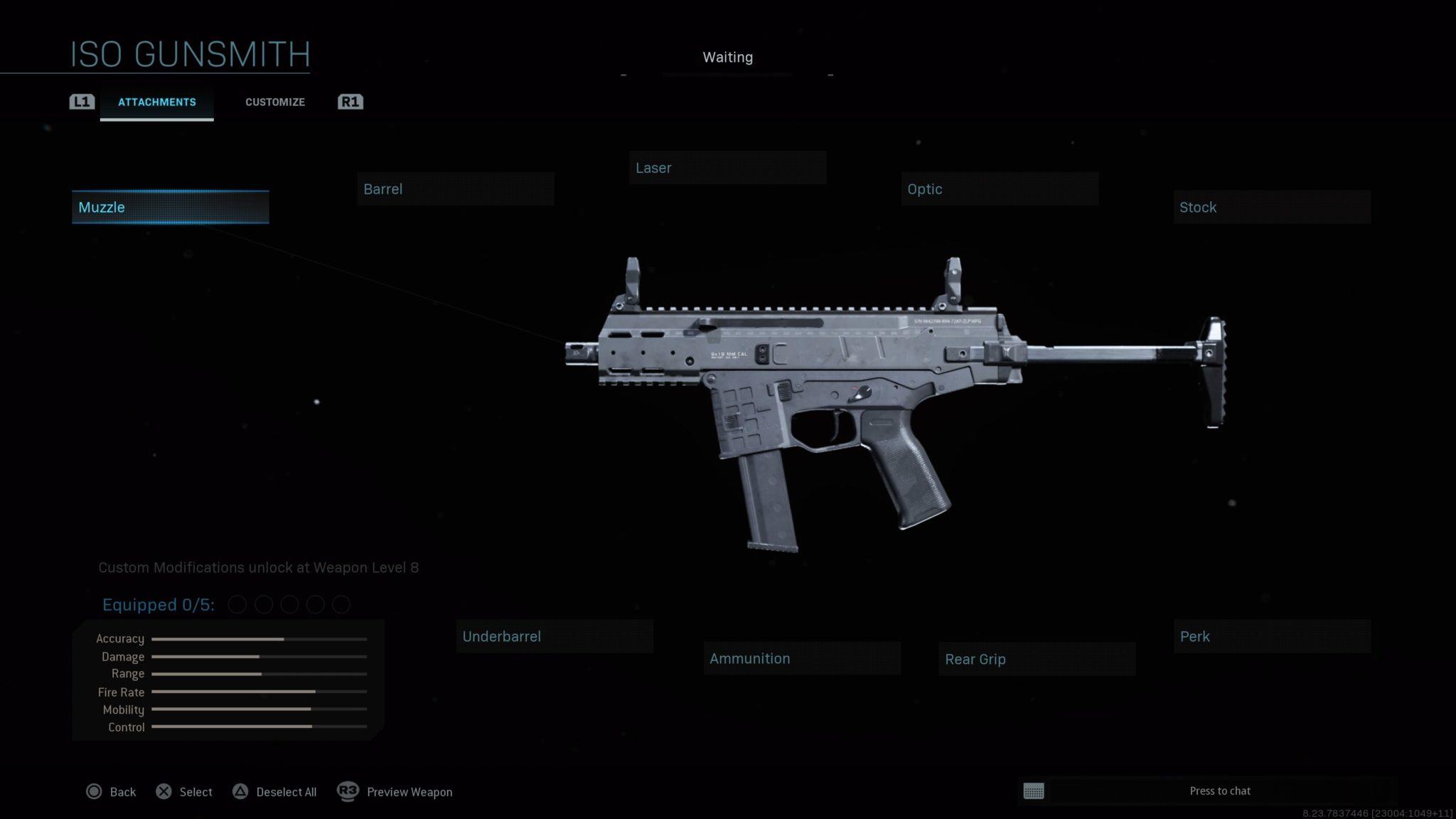 All the ISO submachine gun customization options in the Modern Wafare gunsmith.