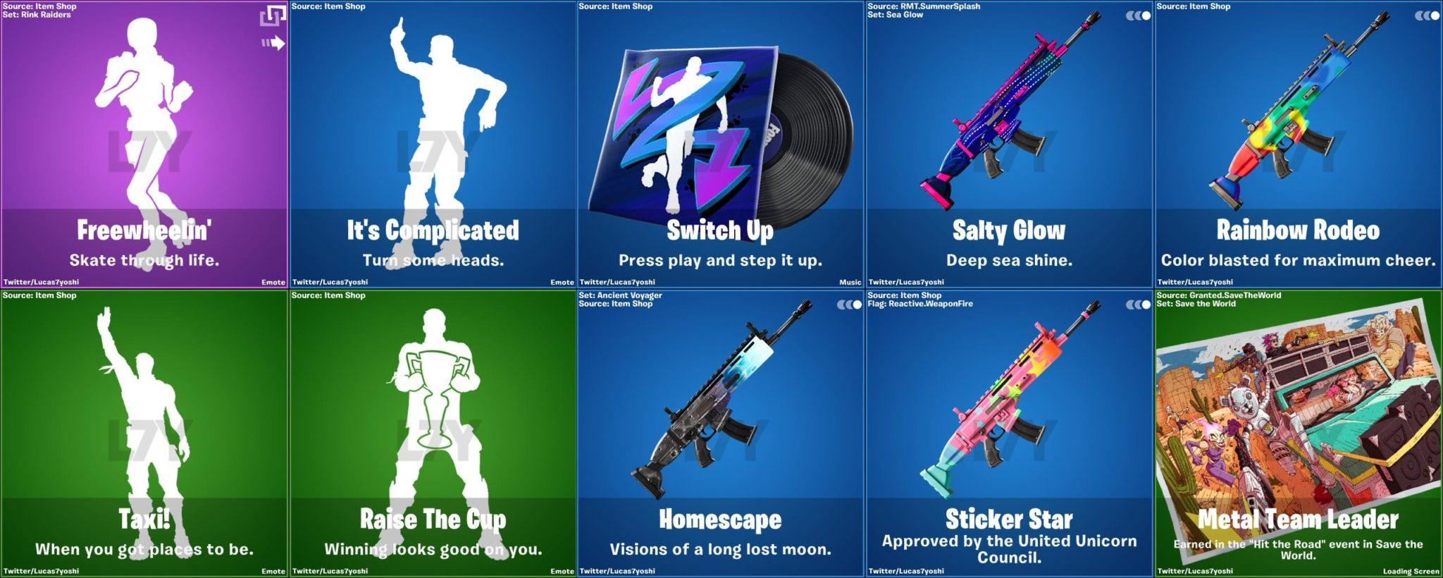 Leaked Fortnite v13.40 weapon camos and emotes