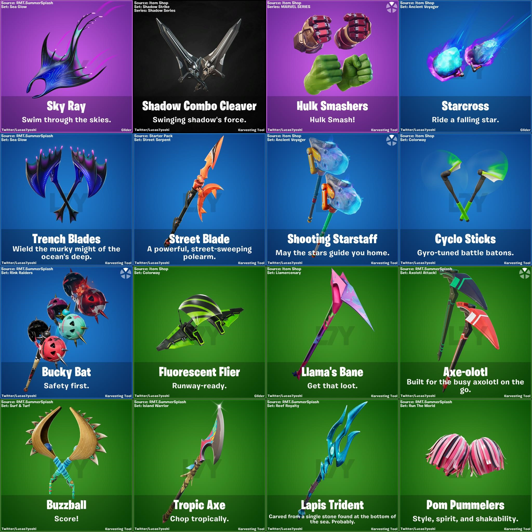 Leaked Fortnite pickaxes v13.40 patch