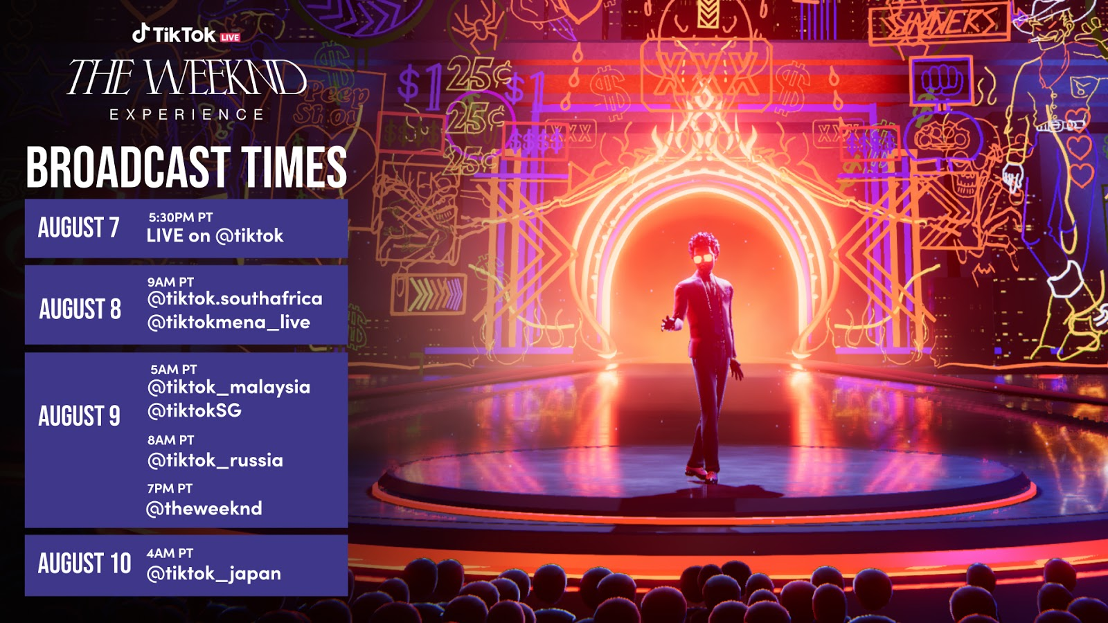 TikTok The Weeknd virtual concert showing times