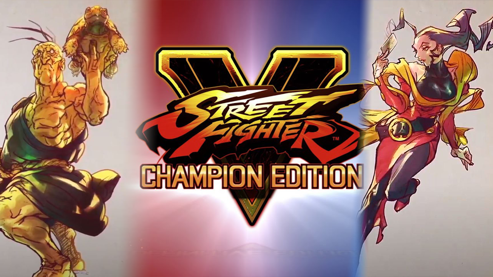 Street Fighter V: Champion Edition logo surrounded by Oro's SFV art and Rose's SFV art.