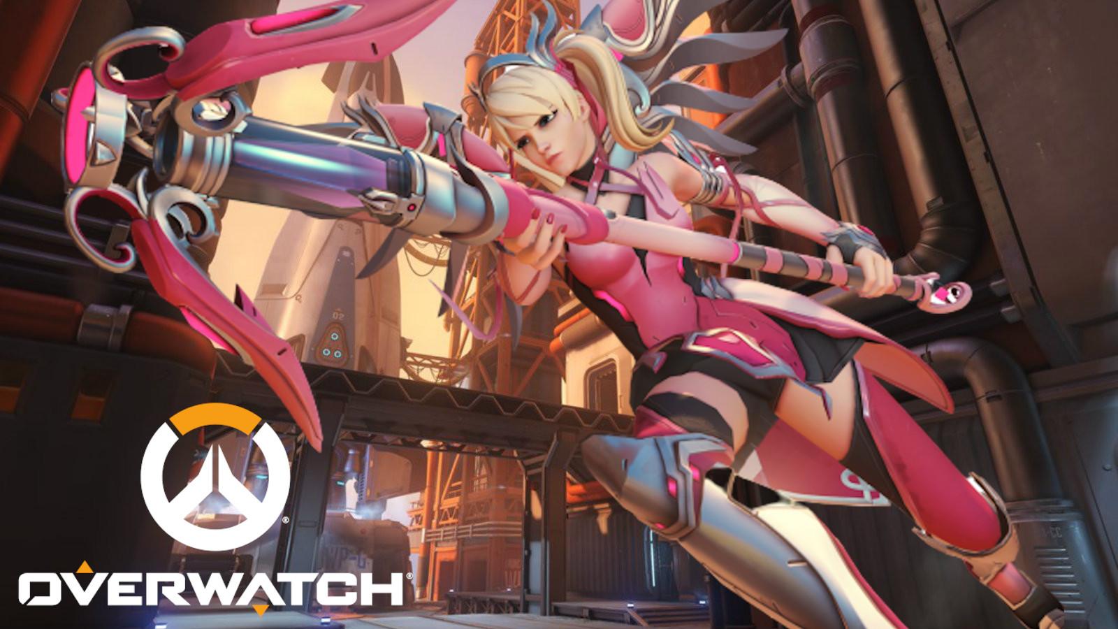 Pink Mercy flies to Overwatch teammates on Watchpoint